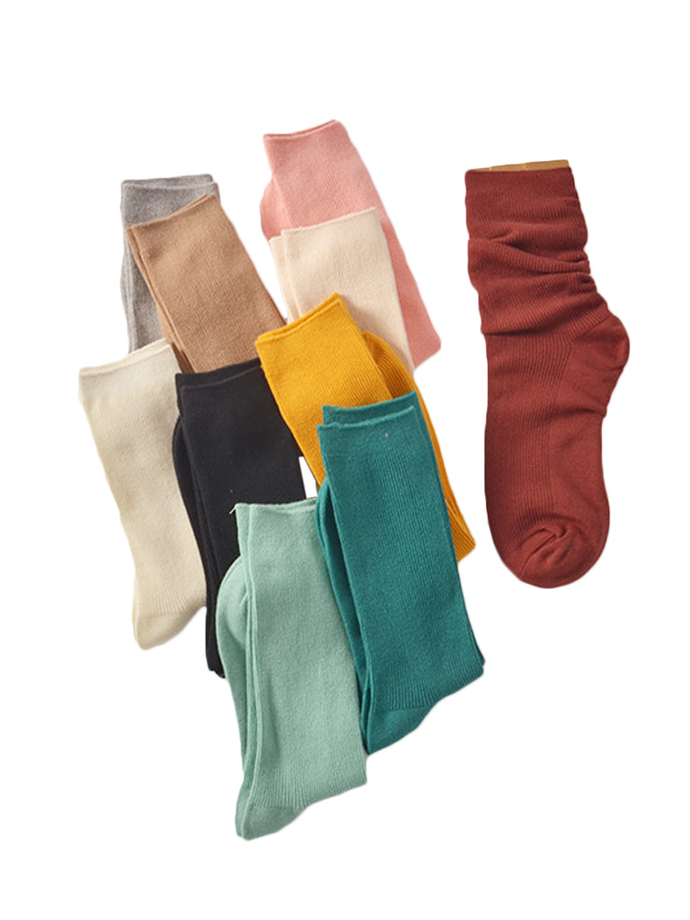 Women's 5 Pairs Sneaker Socks Solid Color Vintage Style Cozy Socks