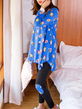 Women's 2 Pcs Sleepwear Colorblock Long Sleeve O Neck Comfy Home Suit