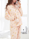 Women's Sleepwear Set Cute Cartoon Pattern Sweet Turn Down Collar Button Long Home Suit