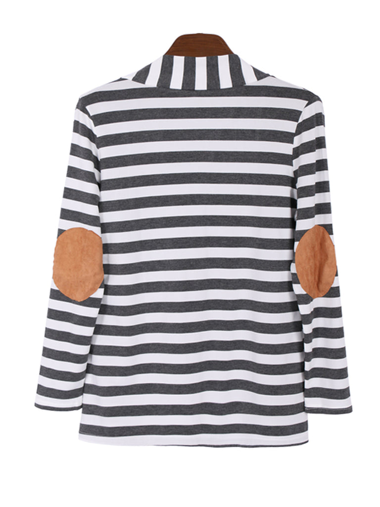 Women's Cardigan Open Front Long Sleeve Striped Patchwork Coat