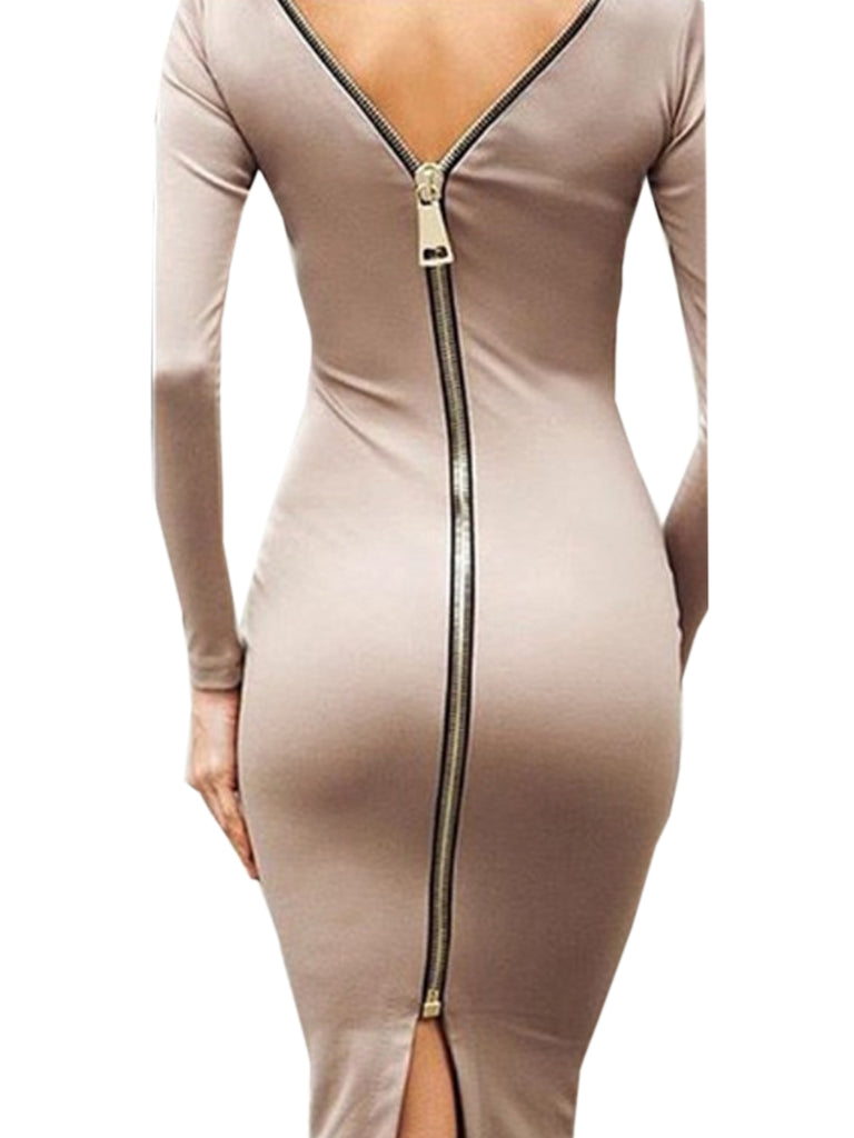 Women's Dress Solid Sexy Long Sleeve Skinny Halterneck Zipper Sheath Dress