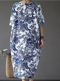 Women's Dress O Neck Half Sleeve Floral Ethnic Loose Plus Size Dress