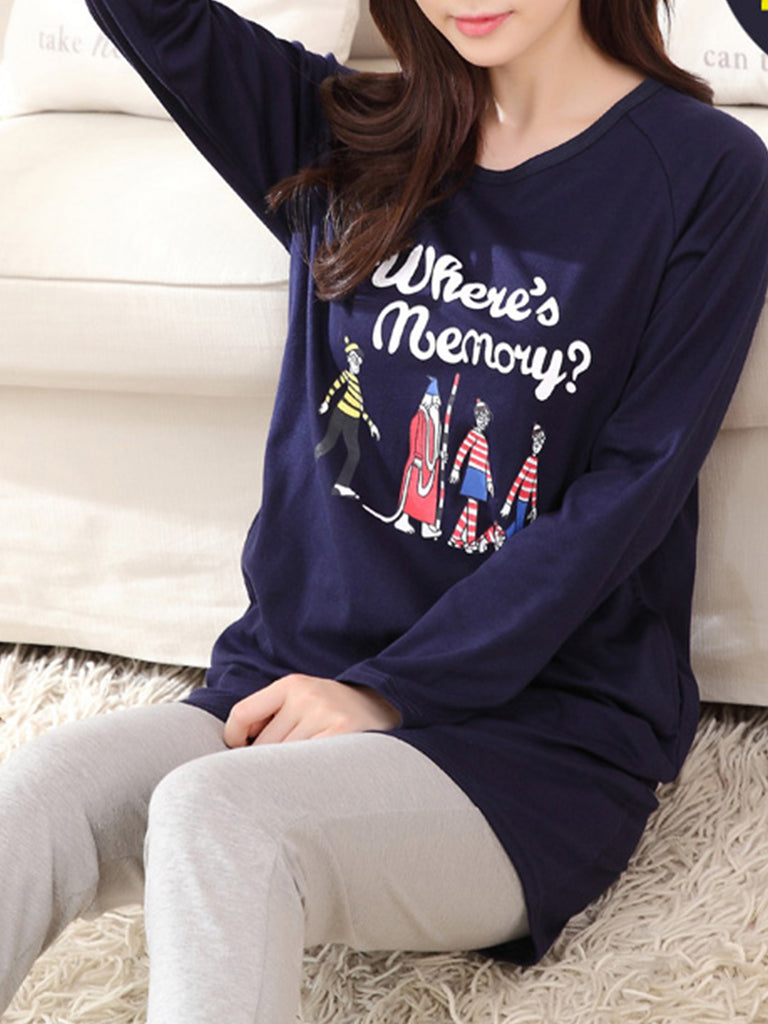 Women's Pajama Set Letters Cartoon Pattern O Neck Long Sleeve Casual Home Suit