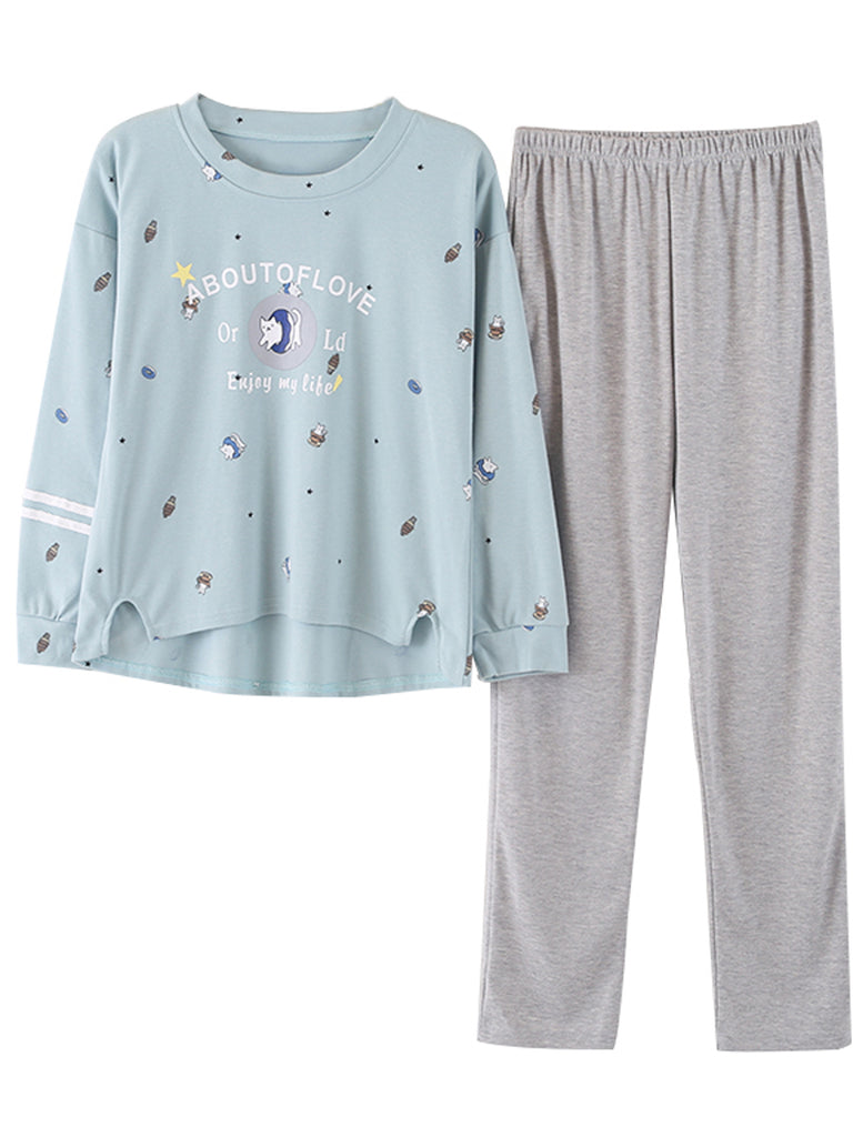 Women's Pajama Set Casual O Neck Long Sleeve Cartoon Pattern Comfy Home Suit