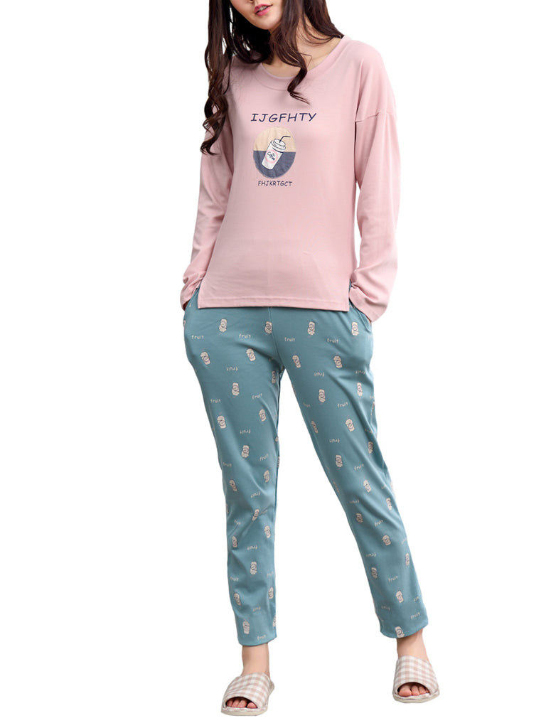 Women's Sleepwear Set Sweet Coffee Cartoon Pattern O Neck Long Sleeve Casual Home Suit