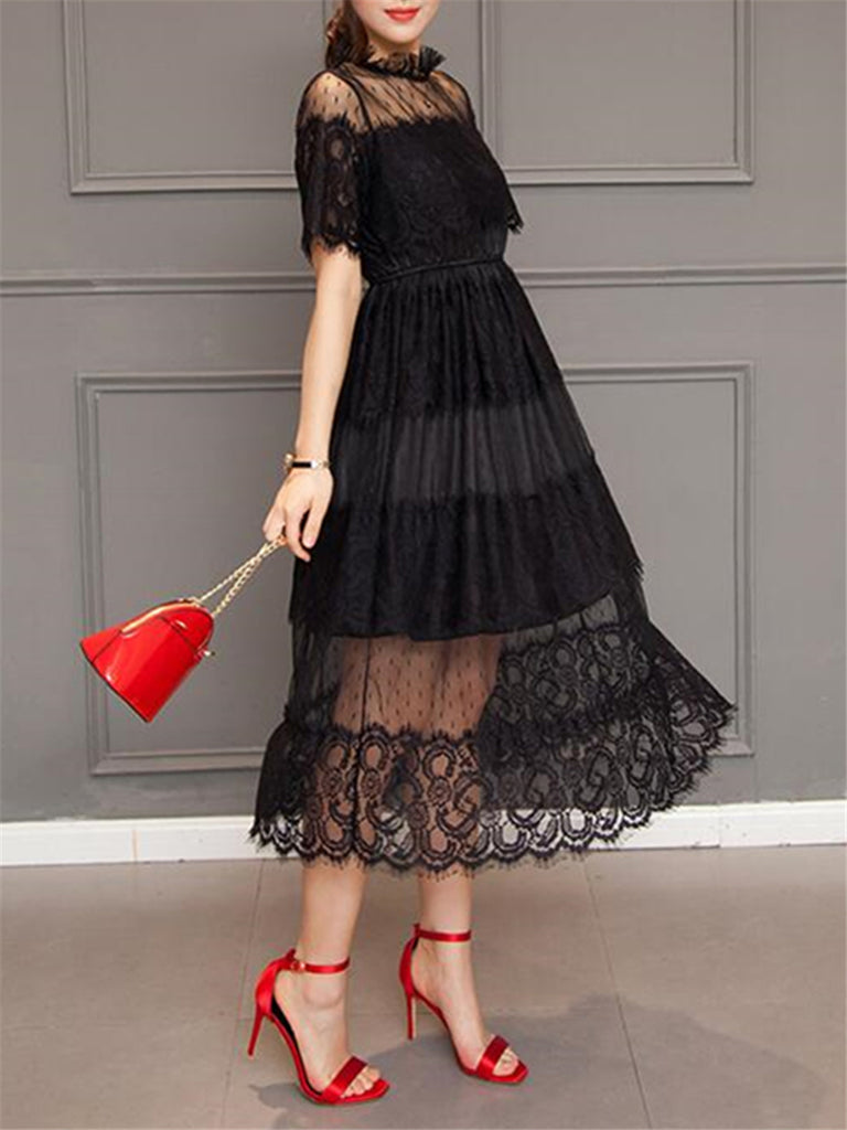 Women's Aline Dress Stand Collar Solid Color Lace Dress