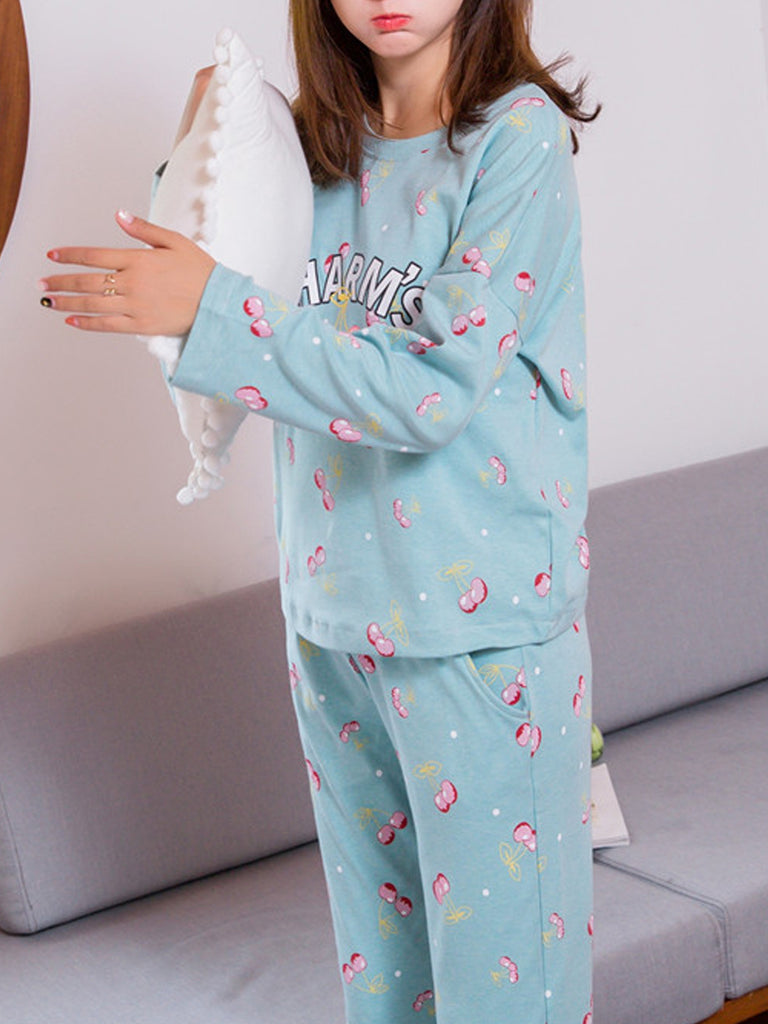 Women's Pajama Set Sweet Cherry Pattern Letters O Neck Long Sleeve Cozy Home Suit