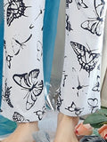 Women's Pajama Set Casual Sweet Butterfly Pattern O Neck Long Sleeve Comfy Home Suit