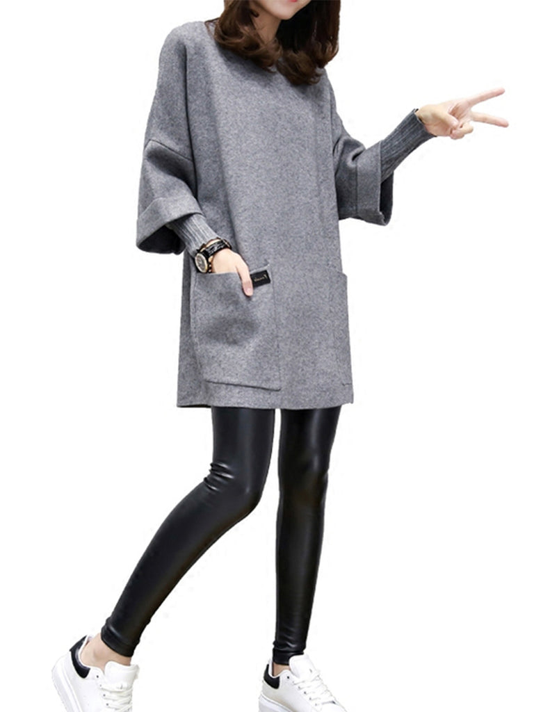 Women's T Shirt Dress Simple Chic Solid Patchwork Simulation II Woolen Long Sleeve Mini Dress