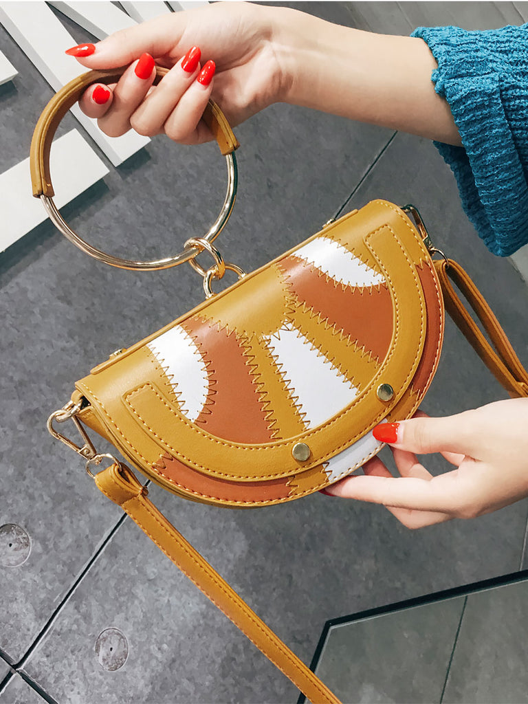 Women's Handbag Chic Cute Pattern Colorblock Semicircle Shaped Luxury Bag