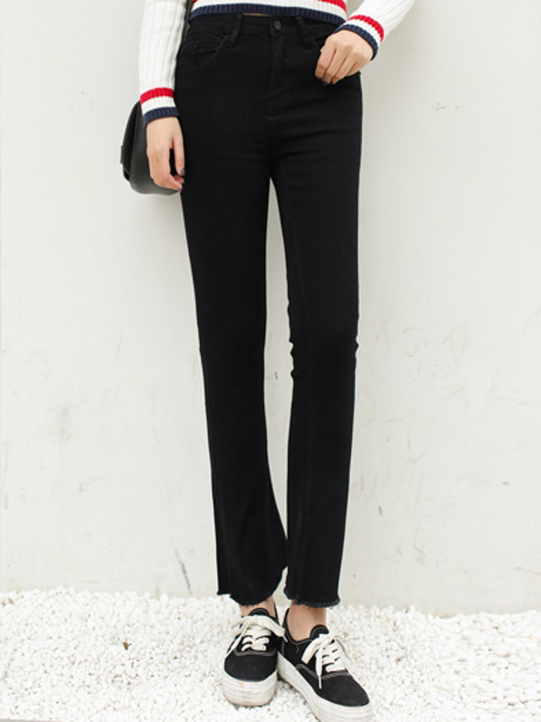 Women's Jeans Solid Color Flared Bottom Slim Jeans