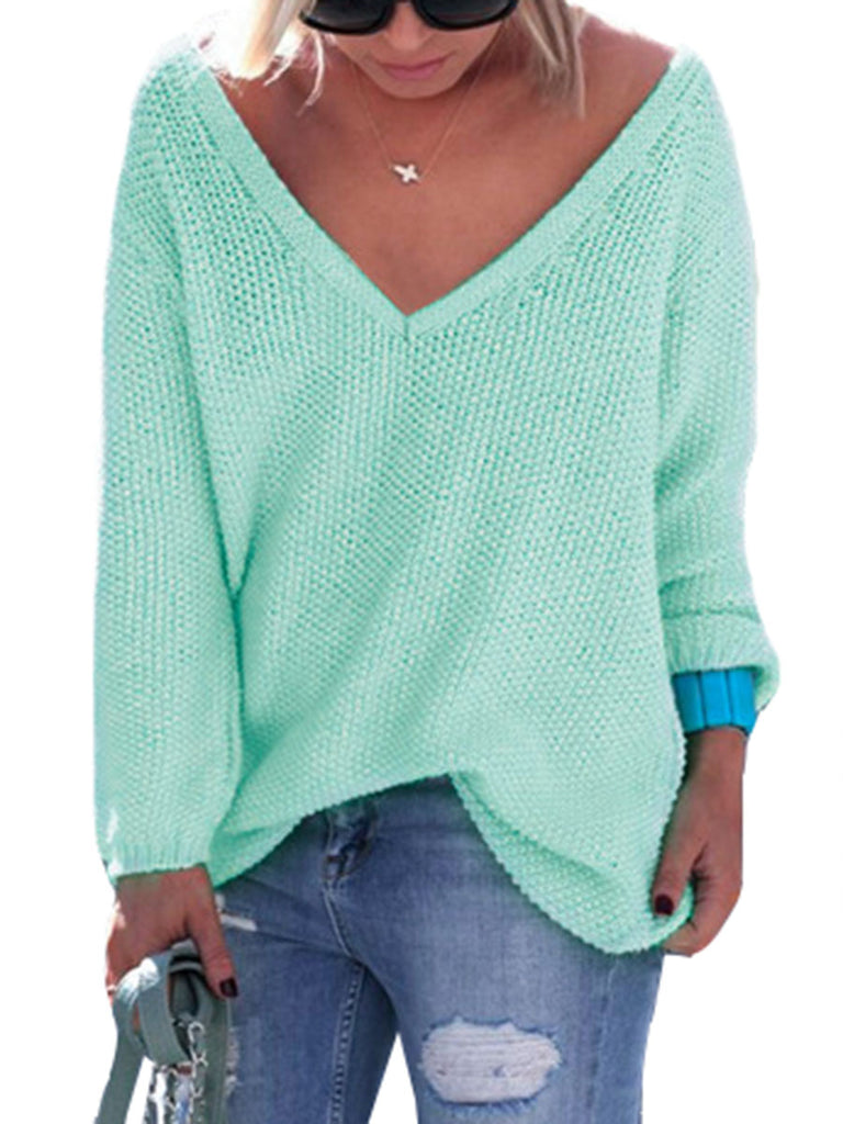 Women's Pullover V Neck Solid Color Loose Long Sleeve Pullover