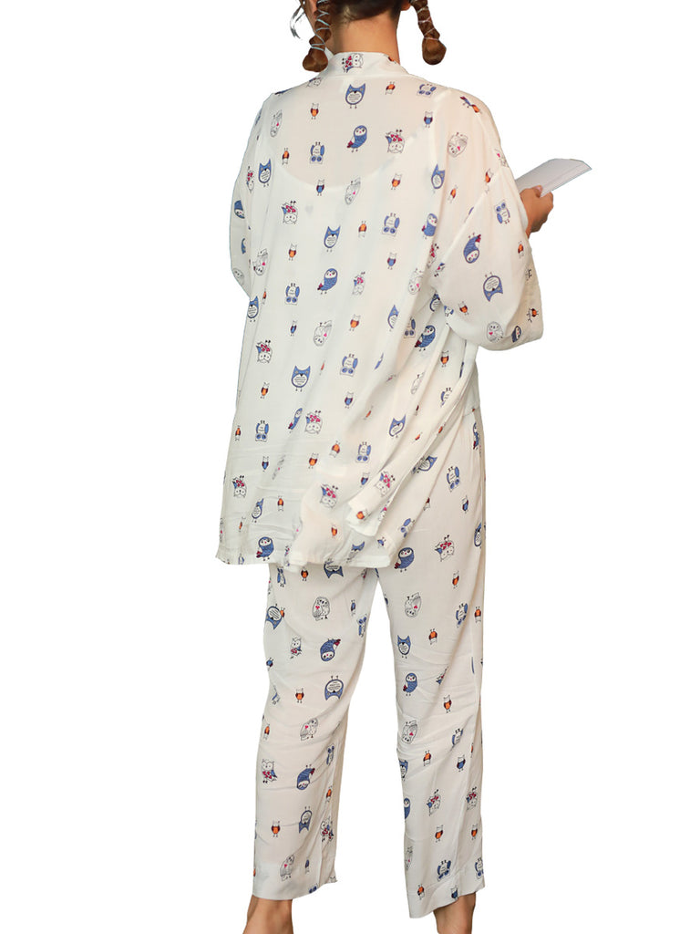 Women's 3 Pcs Sleepwear Cute Cartoon Pattern Breathable Cozy Pajamas Set