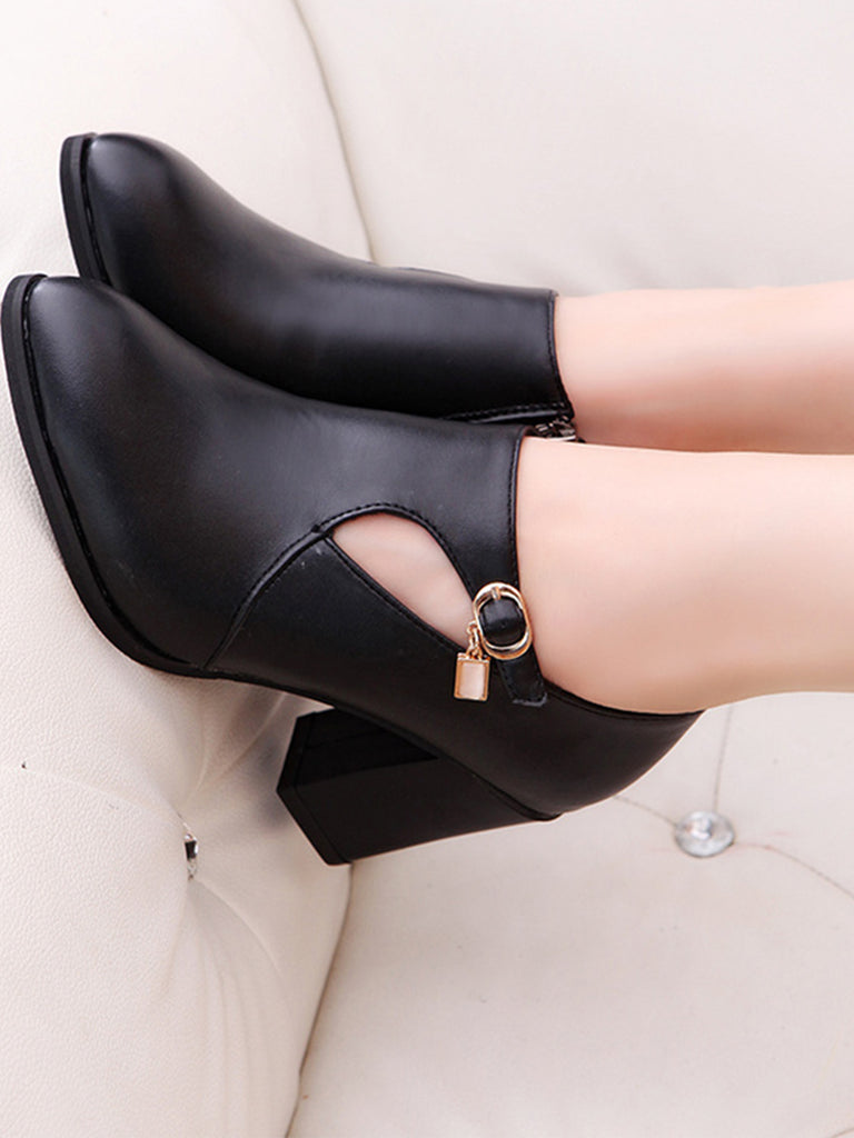 Women's Pumps Thick Heel Pointed Toe Side Zipper Design Buckled Stylish Shoes