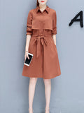 Women's Dress Turn Down Collar Long Sleeve Solid Celebrity Dress
