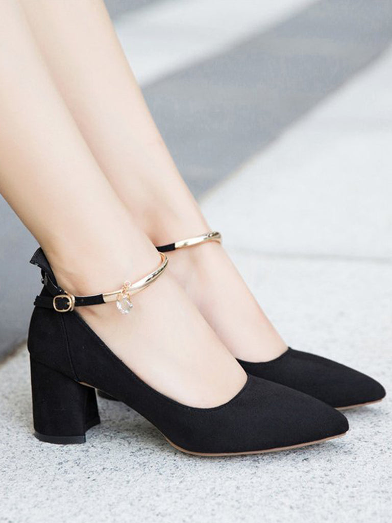 Women's Pumps Pointed Toe Solid Color Square Heel Low Cut Strap Buckled Elegant Shoes