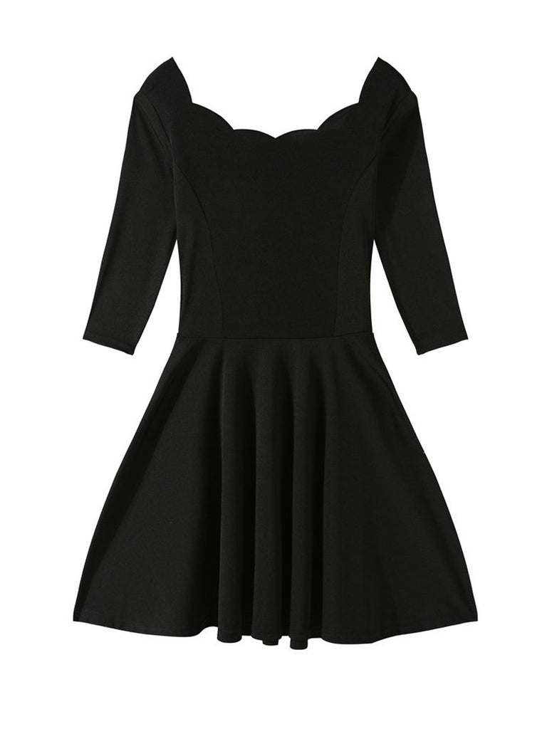 Women's Dress Solid Color Half Sleeve Ruffles Patched Dress