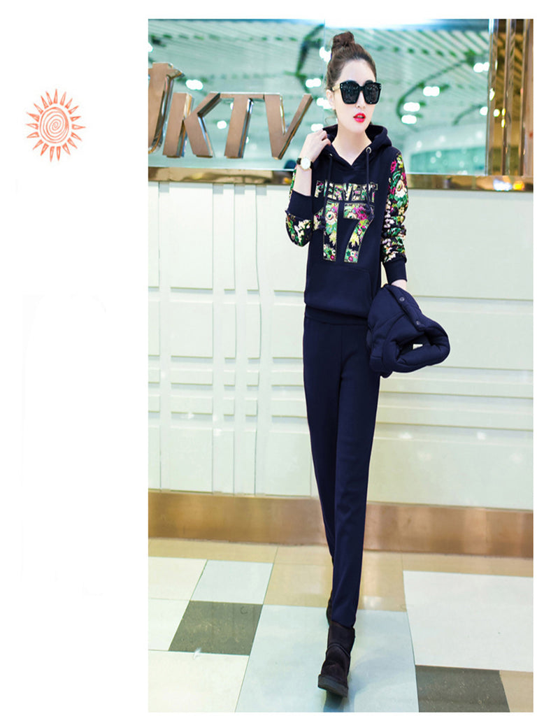 Women's 3Pcs Thicken Warm Vest Jacket Long Sleeve Hoodie Casual Pants Suit