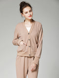 Women's 3Pcs Suits Solid Tank Long Sleeve Cardigan Pants Suits