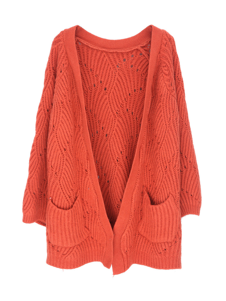 Women's Cardigan Open Front Long Sleeve Hollow Out Solid Cardigan