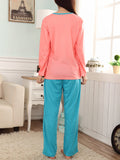 Women's Sleepwear Set Color Block Cute Cartoon Pattern Long Sleeve Casual Home Suit