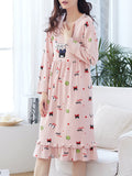 Women's Sleep Dress Sweet Cute Cartoon Pattern V Neck Long Sleeve Ruffles Home Dress