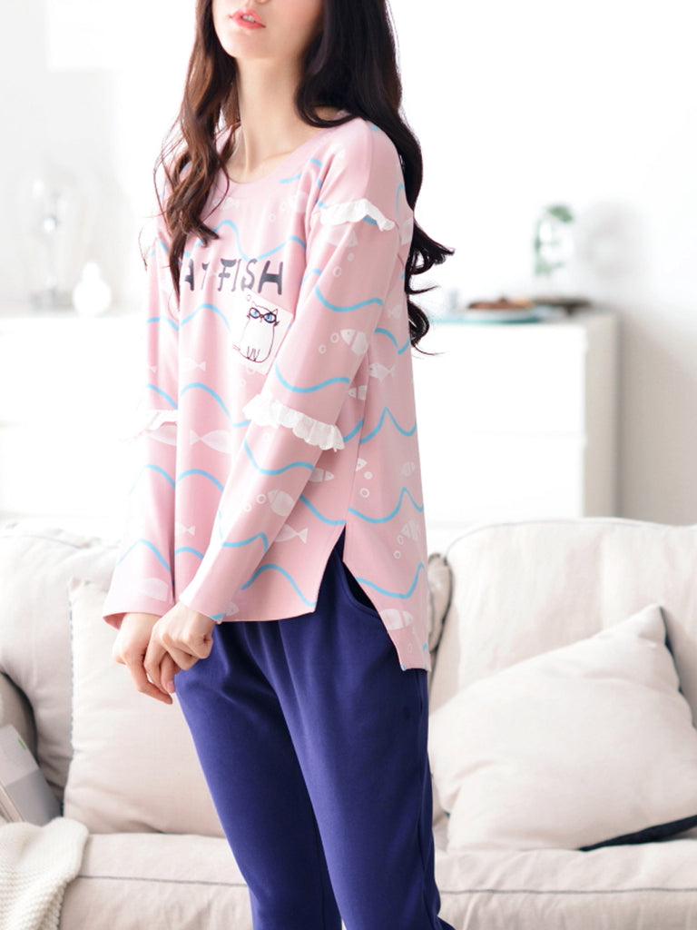 Women's Sleepwear Set Sweet Cute Cat Pattern Side Split O Neck Long Sleeve Home Suit