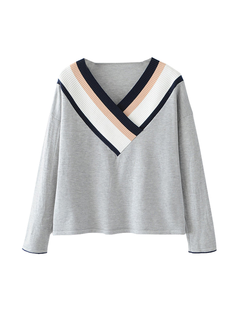 Women's Knitwear Striped Pattern Color Block V Neck Stylish All Match Pullover