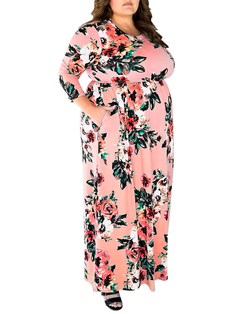 Women's Plus Size Dress Floral Pattern Maxi Long Dress