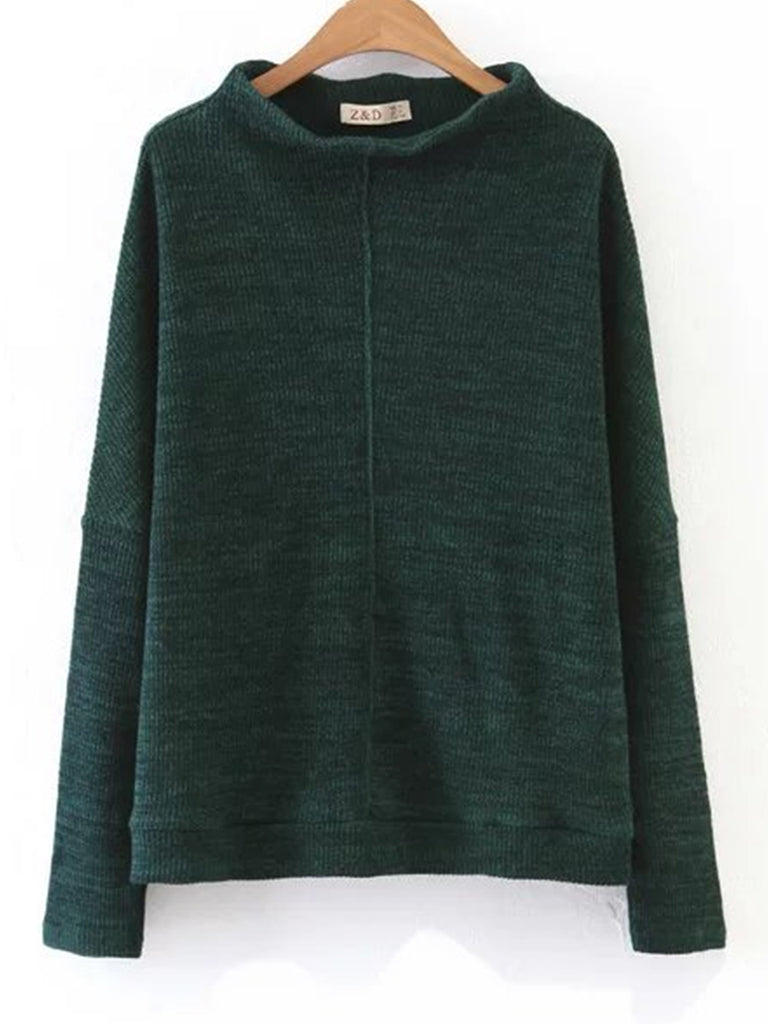 Women's Pullover Solid Color Turtle Neck Casual Sweater