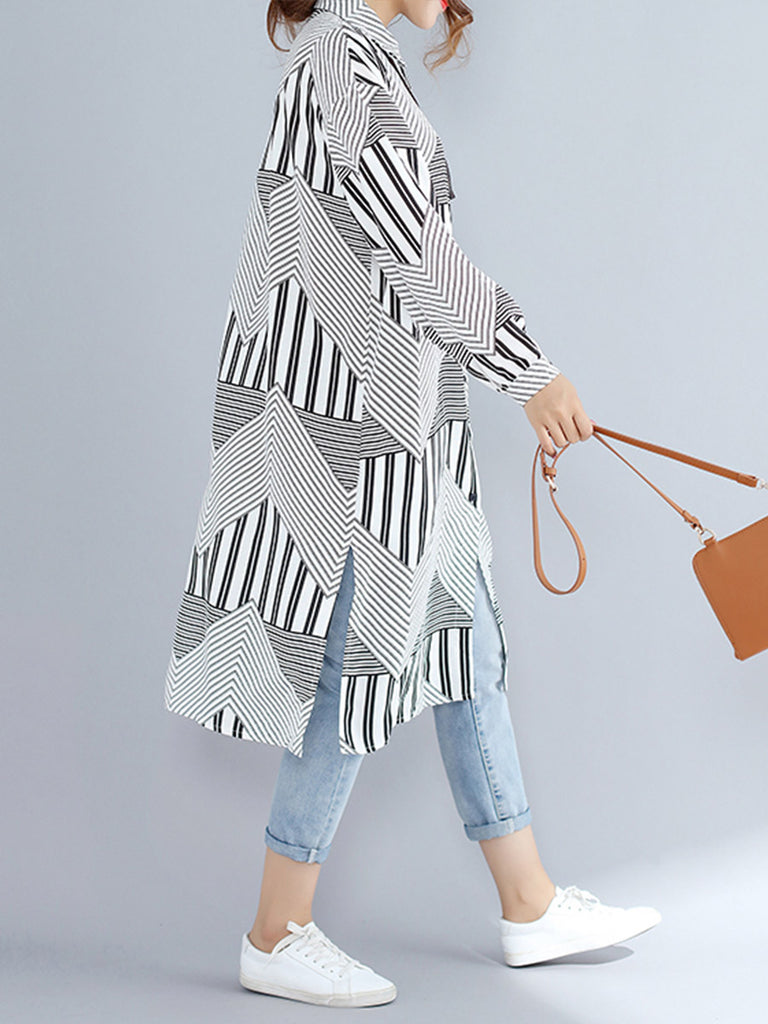 Women's Shirt Dress Long Sleeve Colorblock Comfy All Match Dress