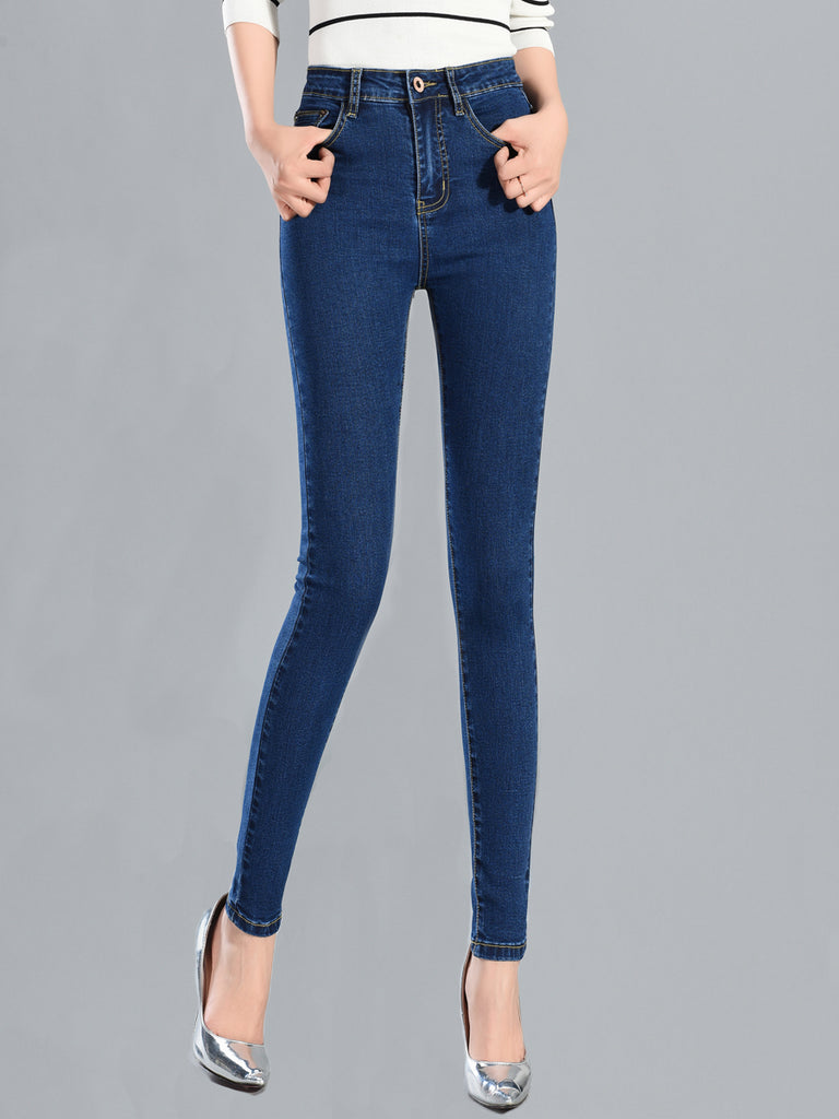 Women's Jeans Solid Color High Waist Casual Slim Jeans