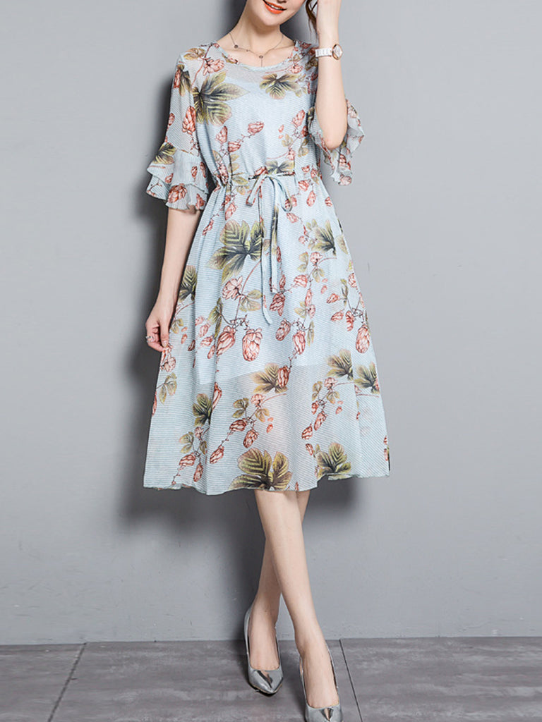 Women's A Line Dress Floral Pattern Short Sleeve Dress