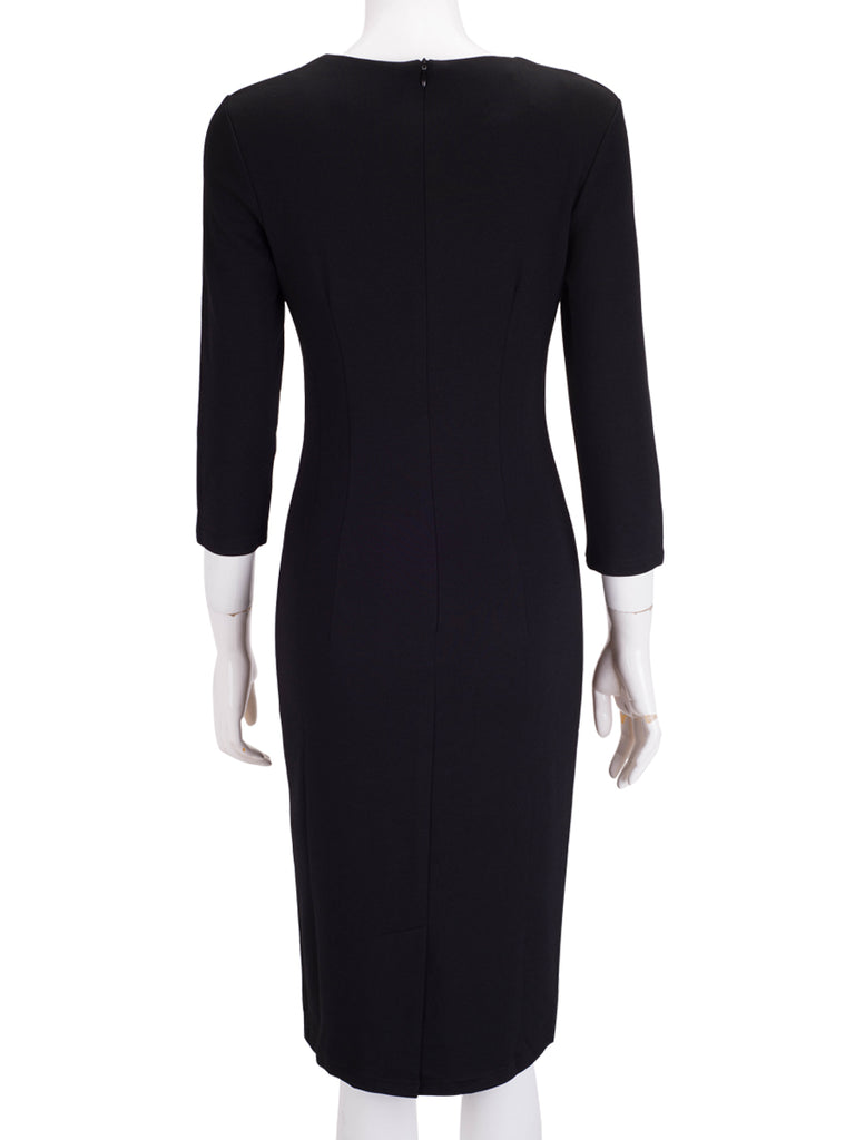 Women's Dress 3/4 Sleeve Color Block Midi Dress