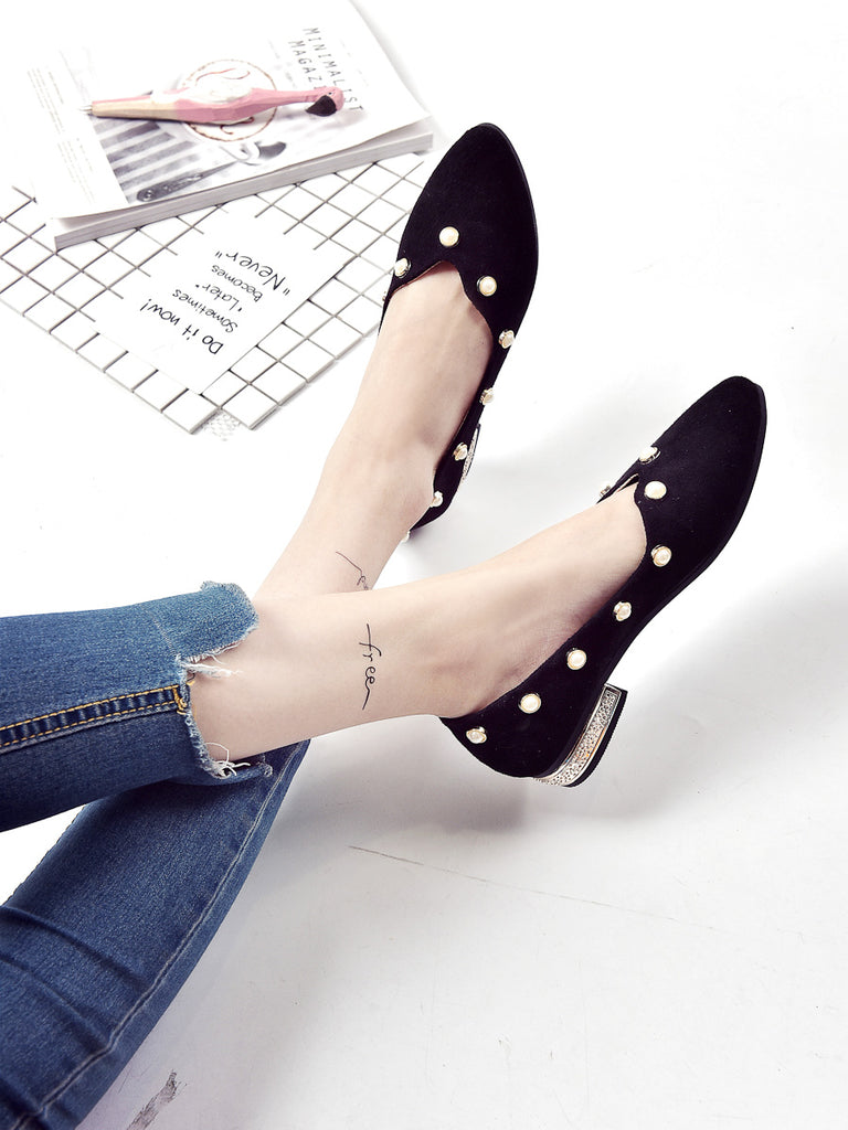 Women's Pointed Toe Pumps Rhinestone Inlay Chic All Matched Shoes