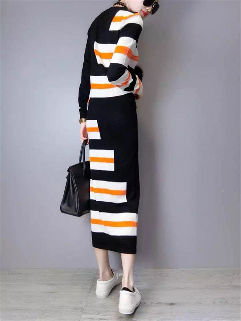 Women's Skirt Suits Color Block Pullover Slim Midi Skirt Suits