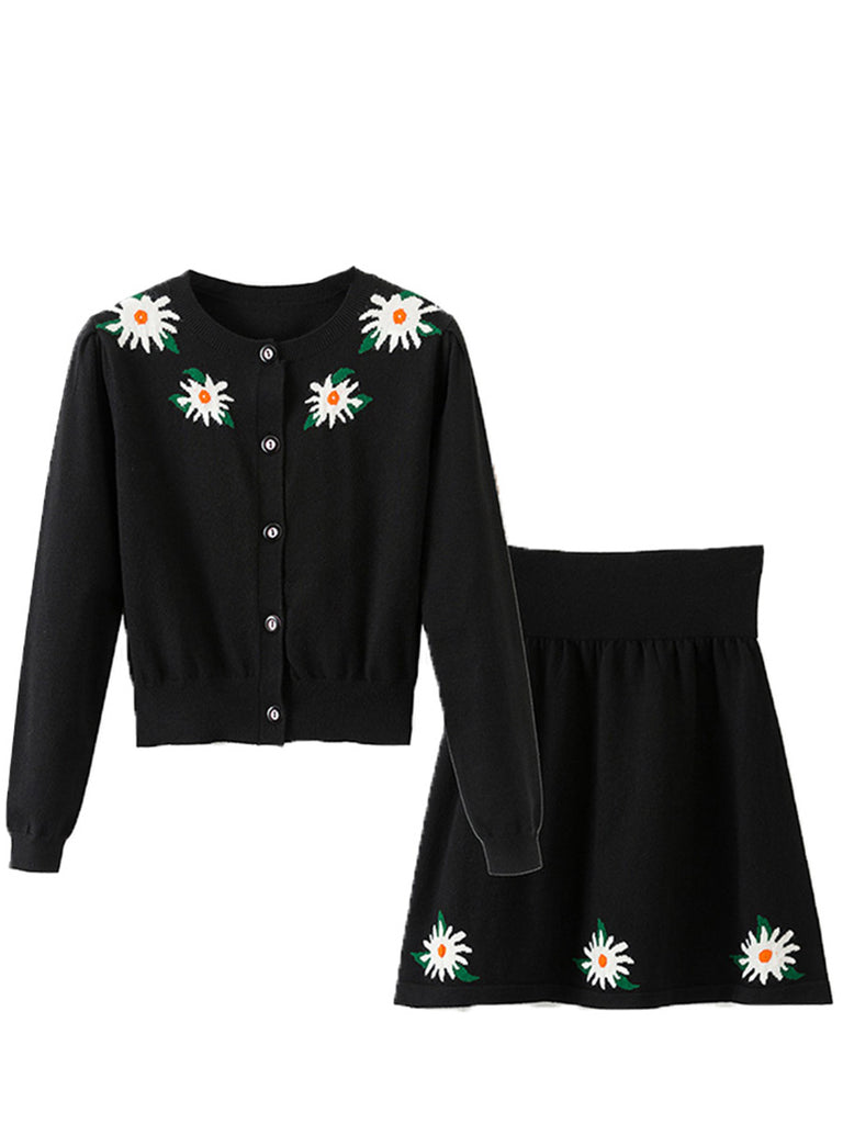 Women's 2 Pcs Skirt Set Flower Pattern Long Sleeve Aline Skirt Set