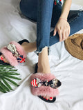 Women's Open Toe Slippers Bow Ornament Skidproof Shoes