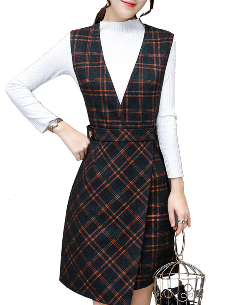 Women's Dress Suits Slim Top Plaid Tank Dress Suits