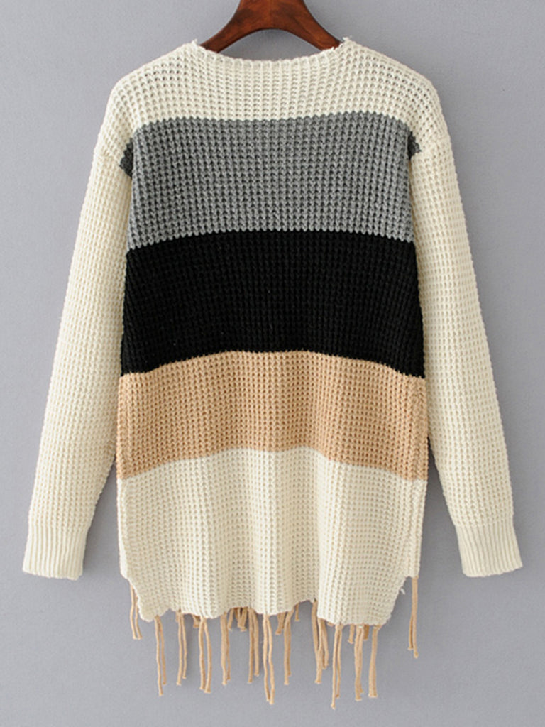 Women's Sweater Long Sleeve Color Block Casual Pullover