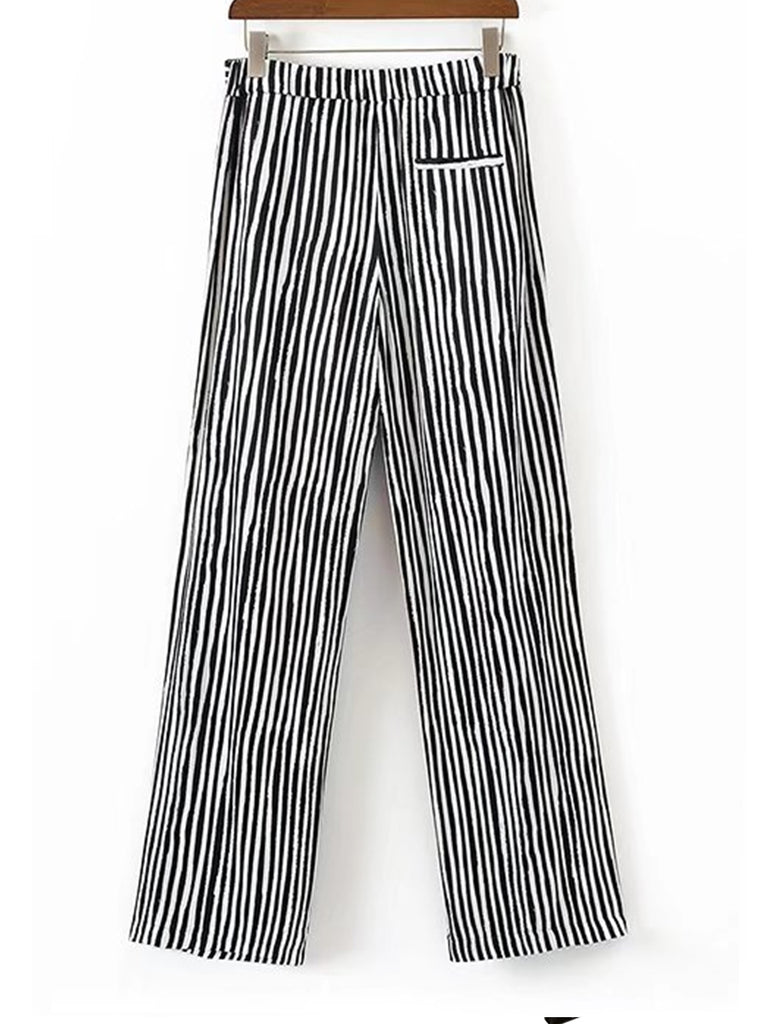 Women's Pants Stripe Pattern Casual Wide Leg Pants