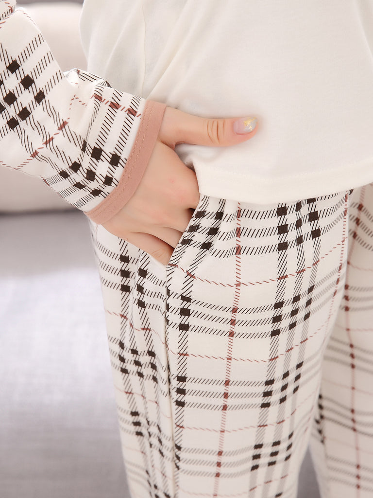 Women's Sleepwear Set Checkered Cute Cartoon Patter O Neck Long Sleeve Home Suit
