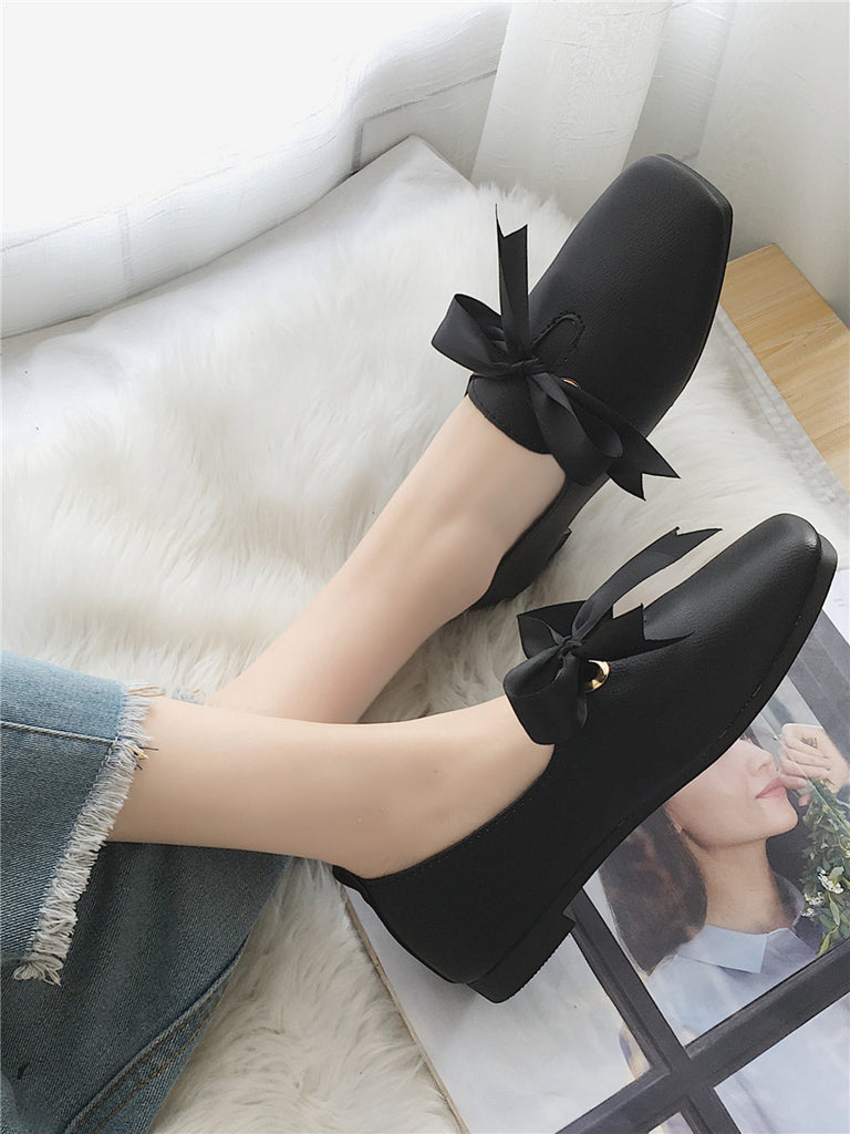 Women's Fashion Flats Bow Knot Decor Square Toe Solid Color Elegant Style Shoes