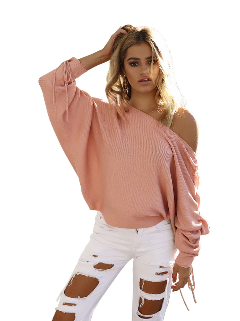 Women's Sweater Off Shoulder Long Sleeve Solid Pullover