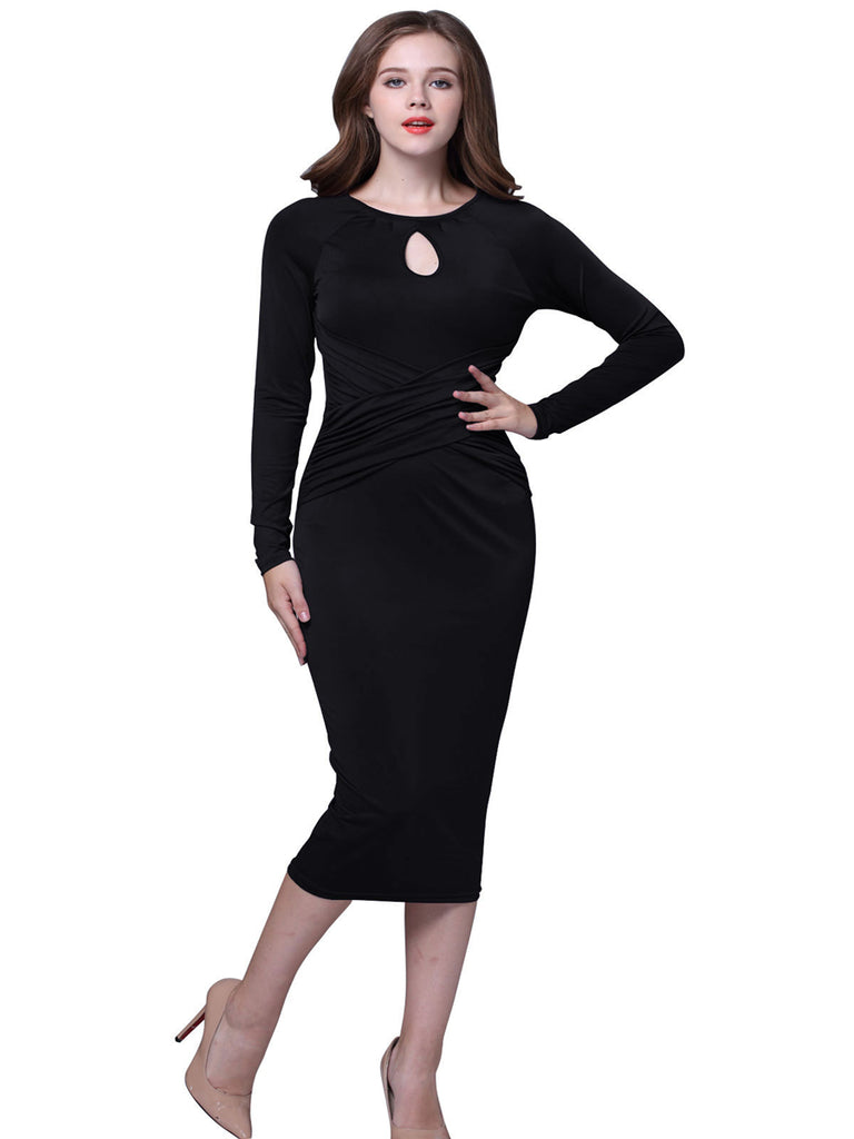 Women's Dress Long Sleeve Solid Color Slim Dress