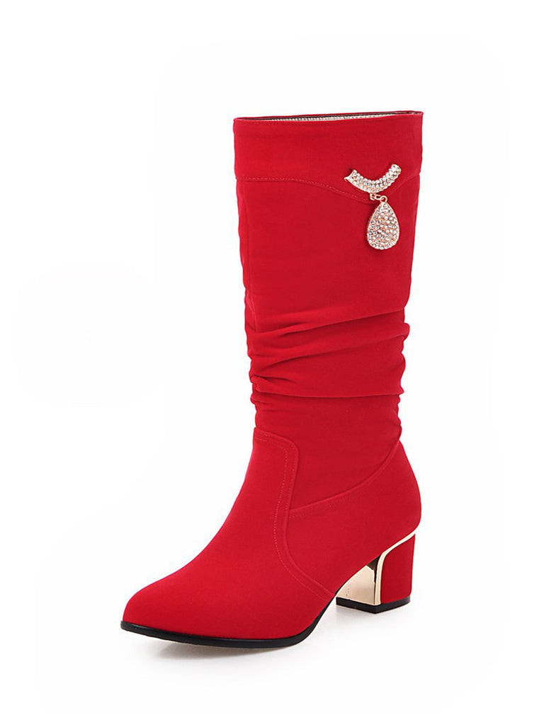 Women's Knee Length Boots Suede Square Heels Rhinestone Boots