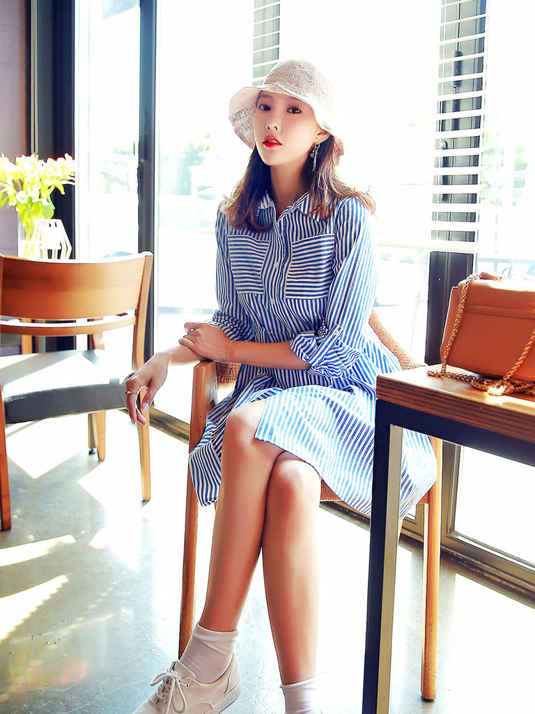Hstyle Women's Aline Dress Stylish All Match Striped Long Sleeve Slim Midi Shirt Dress