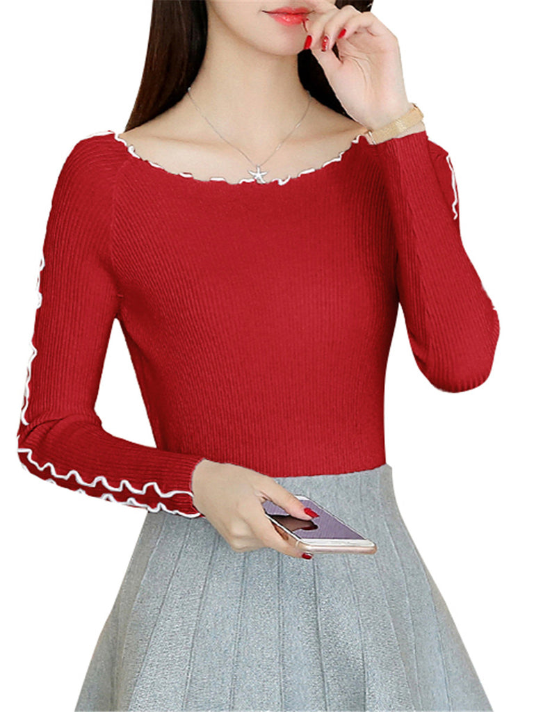 Women's Sweater Long Sleeve High Elastic Warm Pullover
