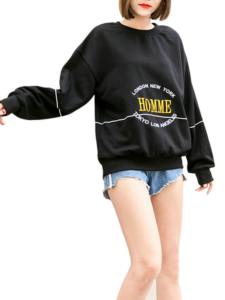 Women's Sweatshirt Letter Embroidery Casual Sweatshirt