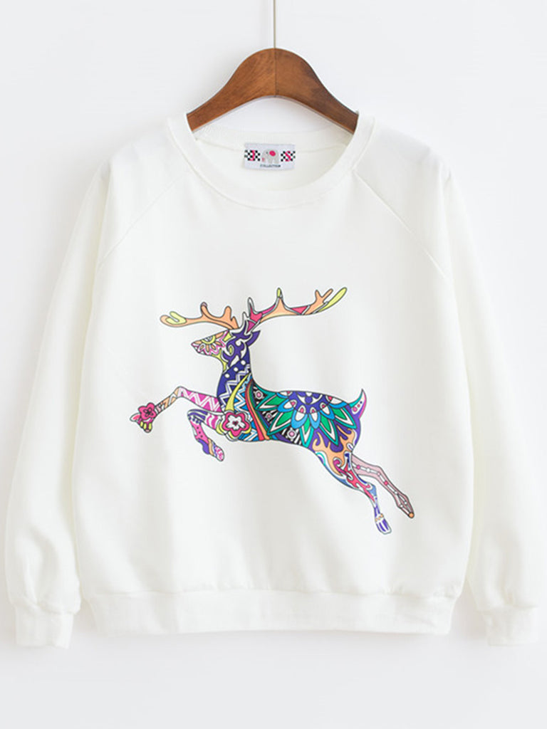 Women's Sweatshirt Animal Pattern Long Sleeve Casual Sweatshirt